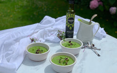 bowls of green soups in the garden