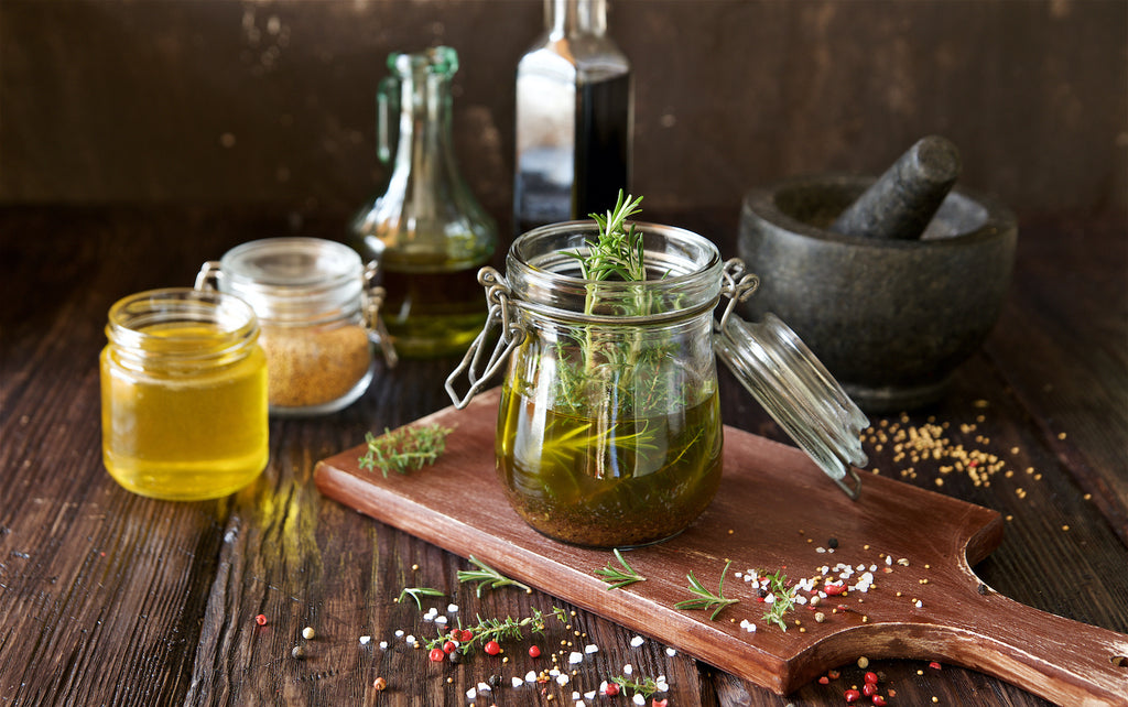 herbs and olive oil salad dressing