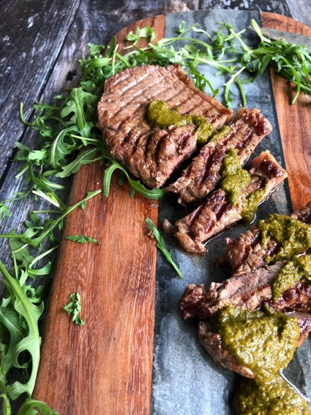 super green sauce with steak