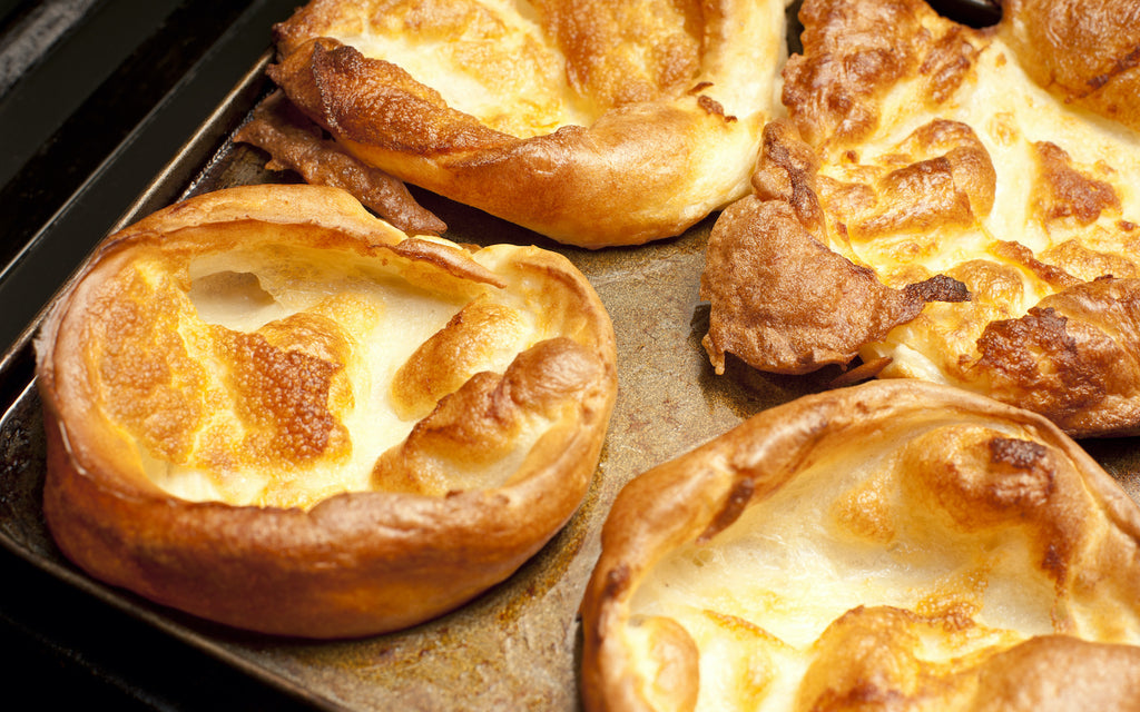 Yorkshire puddings on a baking sheet