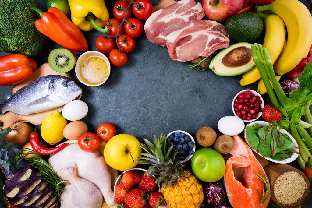 Variety of meat, fruits and vegetables