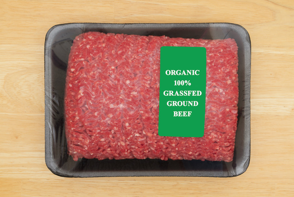 Grass fed meat: Grass fed ground beef in package