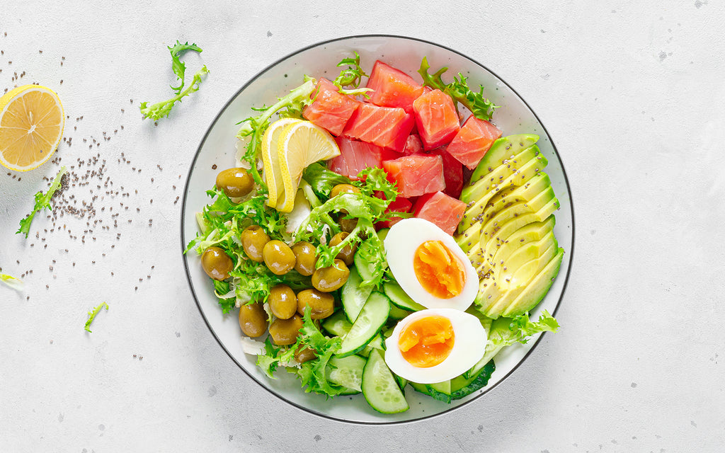 different kinds of keto food in a bowl