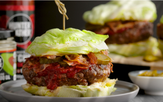 beef burger with cabbage buns