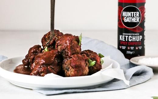 Spicy Keto & Paleo Chicken Liver Meatballs with Hunter & Gather ketchup on the side
