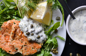 fishcaked with lemon and capers