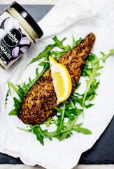 fish with lemon wedge and hunter and gather mayonnaise
