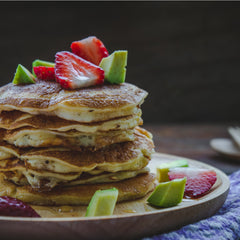 Pancaked avocado and strawberry paleo pancake