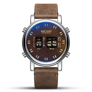 Digital Watch Men New Brown Leather Bracelet Quartz Wristwatch Man Army Sport Watches Clock