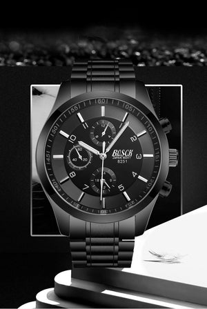 Mens Casual Watches Stainless Quartz Chronograph Waterproof Watch