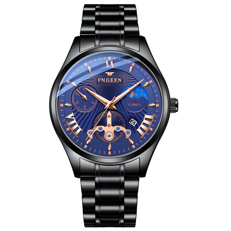 (Limited sale)Men's Watch 2019 New Stylish Black Quartz Wristwatch Moon and Star Fashion Business Male Watch Man Hour