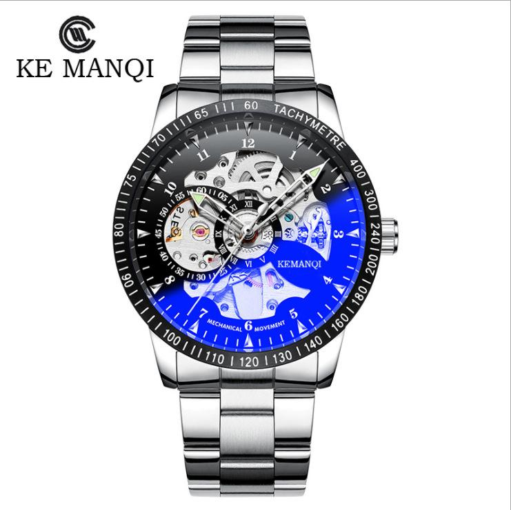 Men's Steampunk Automatic Mechanical Discoloration Glass Skeleton Stainless Steel Watch