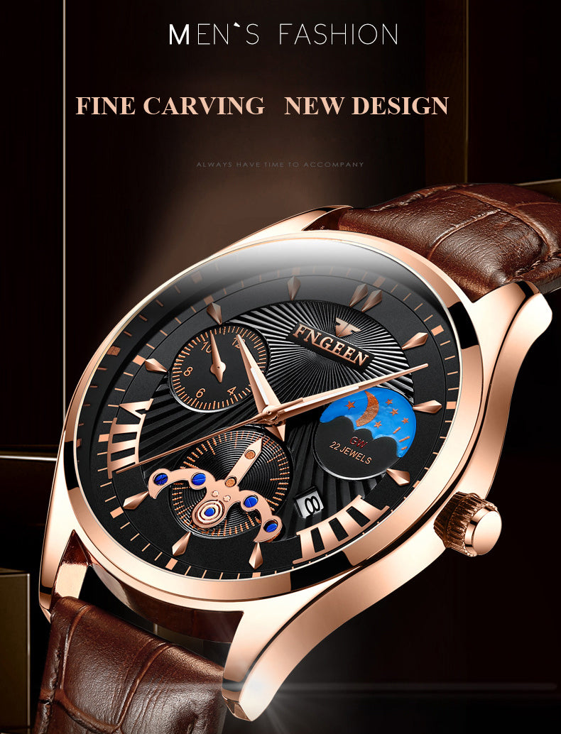 Men's Watch 2019 New Stylish Black Quartz Wristwatch Moon and Star Fashion Business Male Watch Man Hour