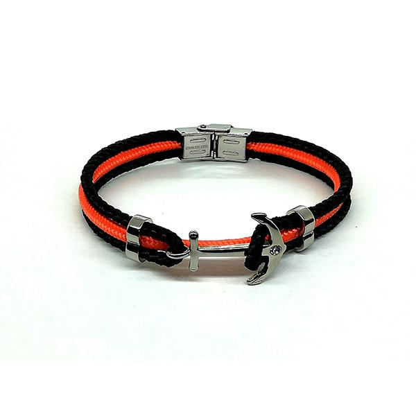 Bracelet Ancre cordon noir et orange