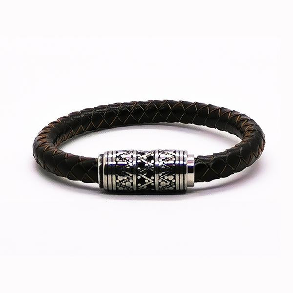 Bracelet tribal cuir marron