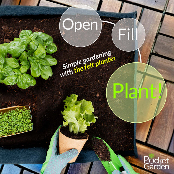 POCKET GARDEN Pocket Garden Raised Bed Felt Small to Large Various Sizes Instant Garden Bed, Urban Modern Concrete, Patio, Balcony