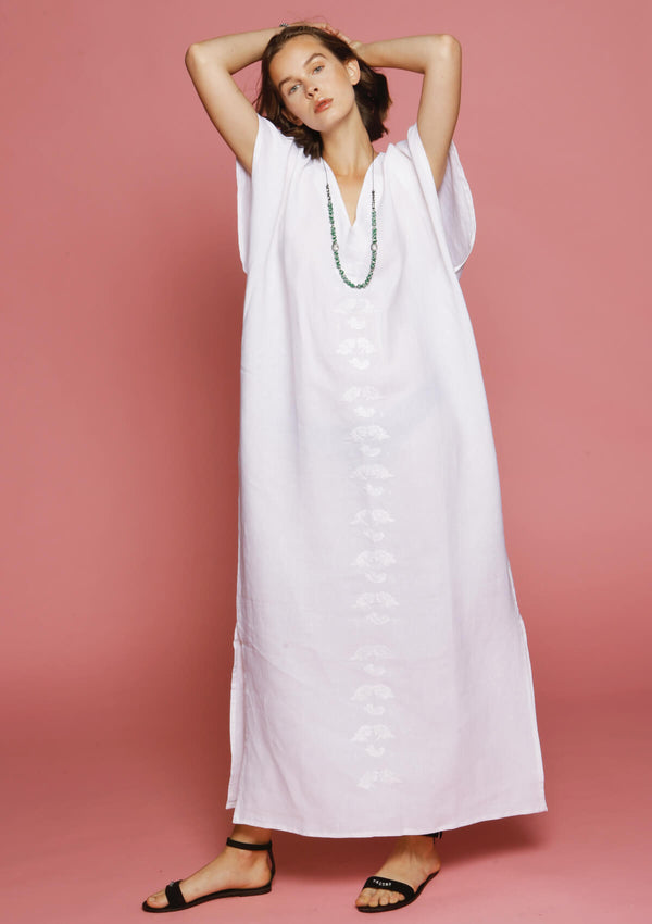 designer beach kaftan dress white linen for sale