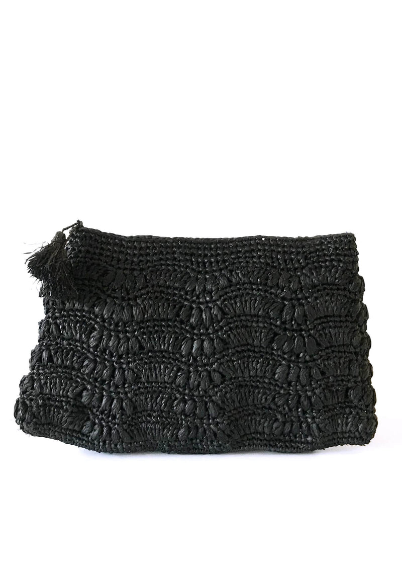 women raffia clutch black