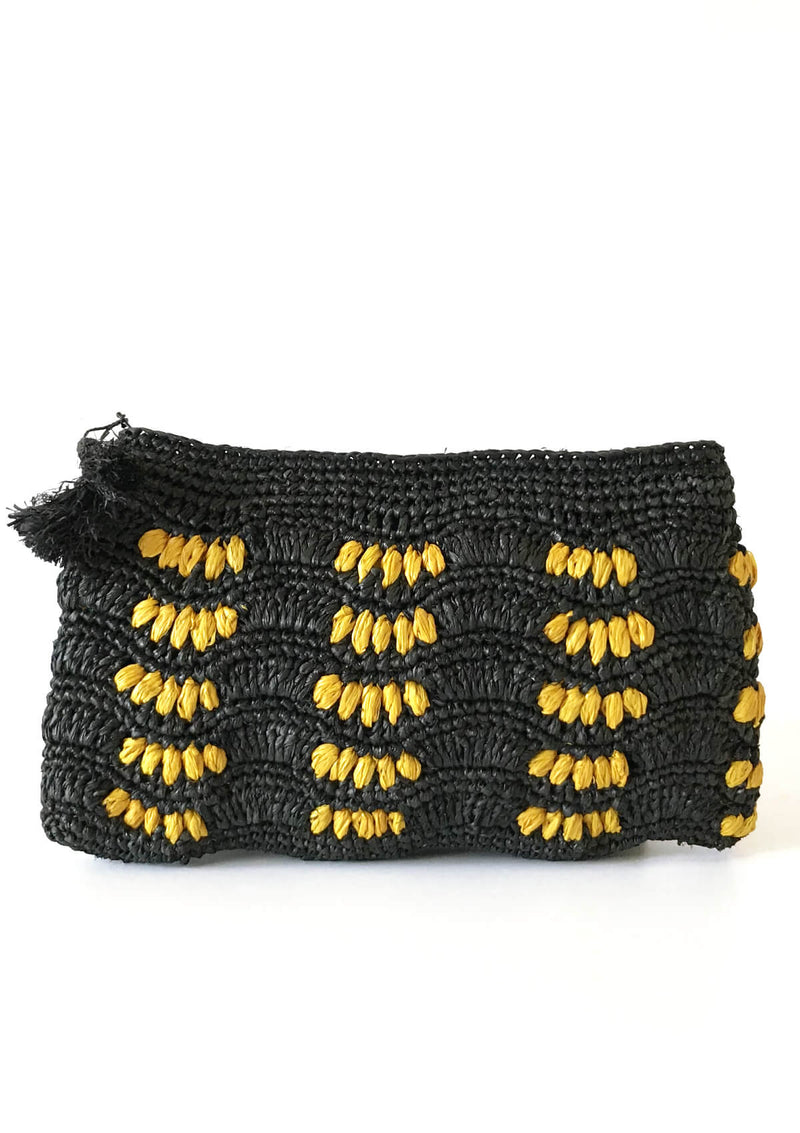 BETTY raffia Clutches - Black and Yellow
