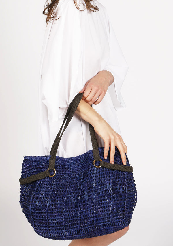 Women accessories raffia shoulder bag with zip pocket