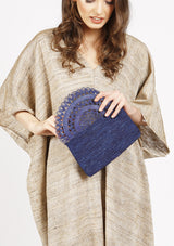 Affordable quality raffia blue party clutch bag summer wedding