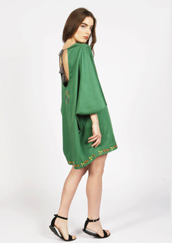Cheap open back beach cover-up dress with pompoms in green one size