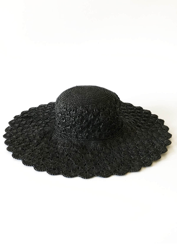 High end british high end beach hat large black
