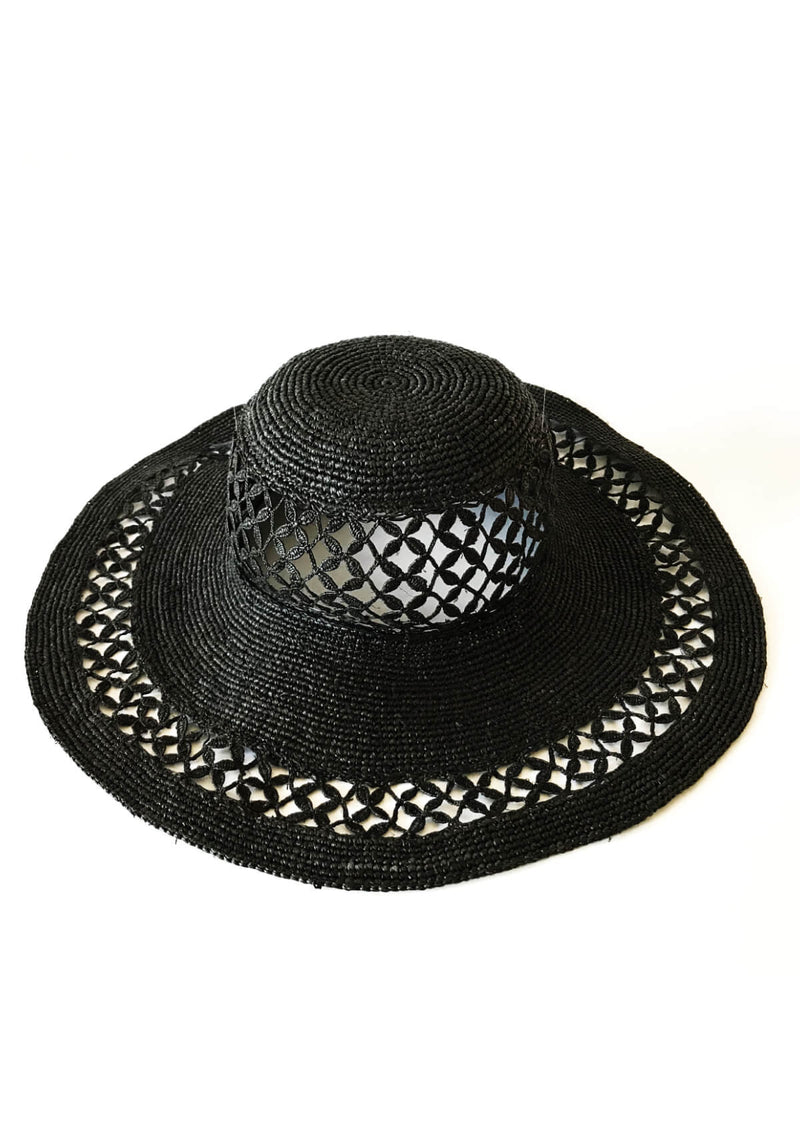 CHRISTIE large raffia Sun hat - Black