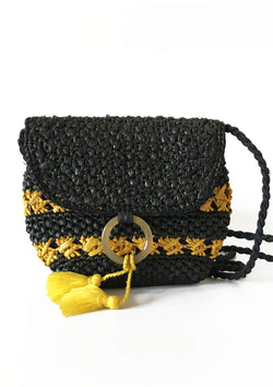 affordable crocheted clutch raffia bag