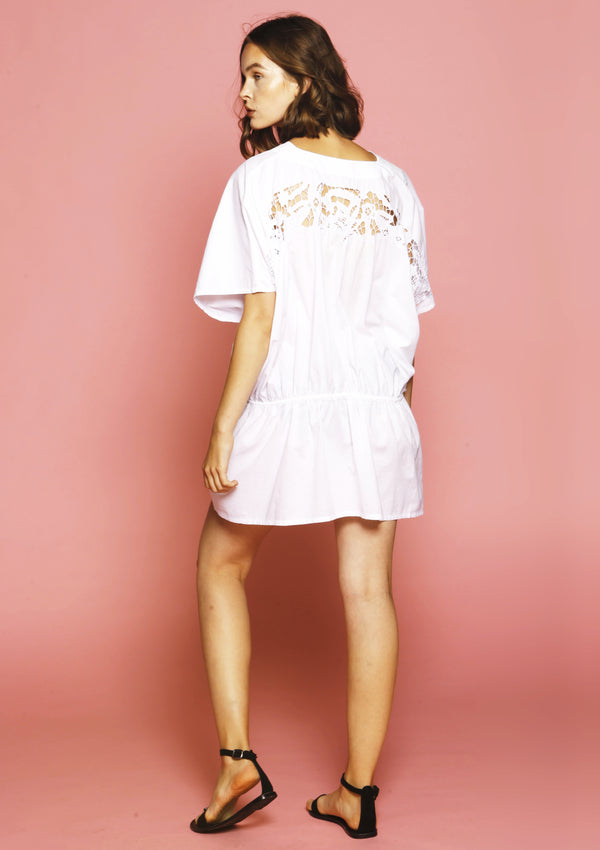 Affordable white cotton beach dress with embroidery for sale