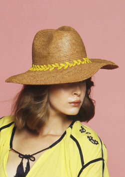 Handmade raffia beach hat large panama hat brown