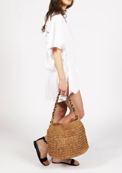 cheap designer raffia beach shoulder bag for luxury travel