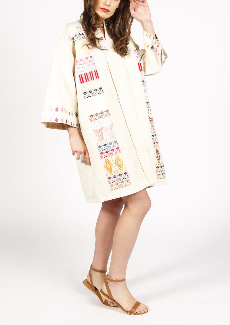 Women beige designer kimono cover-up silk coat