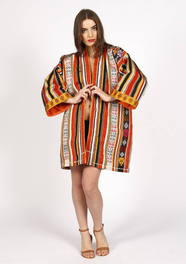 Affordable designer silk kimono beachwear cover-up red and yellow
