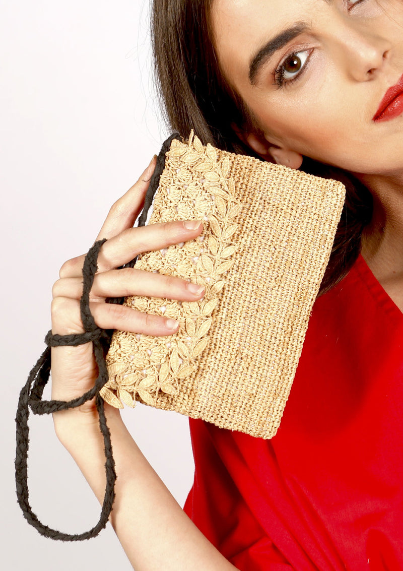 Millie evening clutch bag with handmade lace - Natural