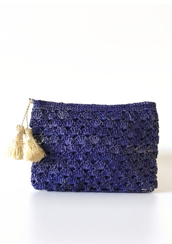 Designer blue raffia occasion wedding bag purse clutch