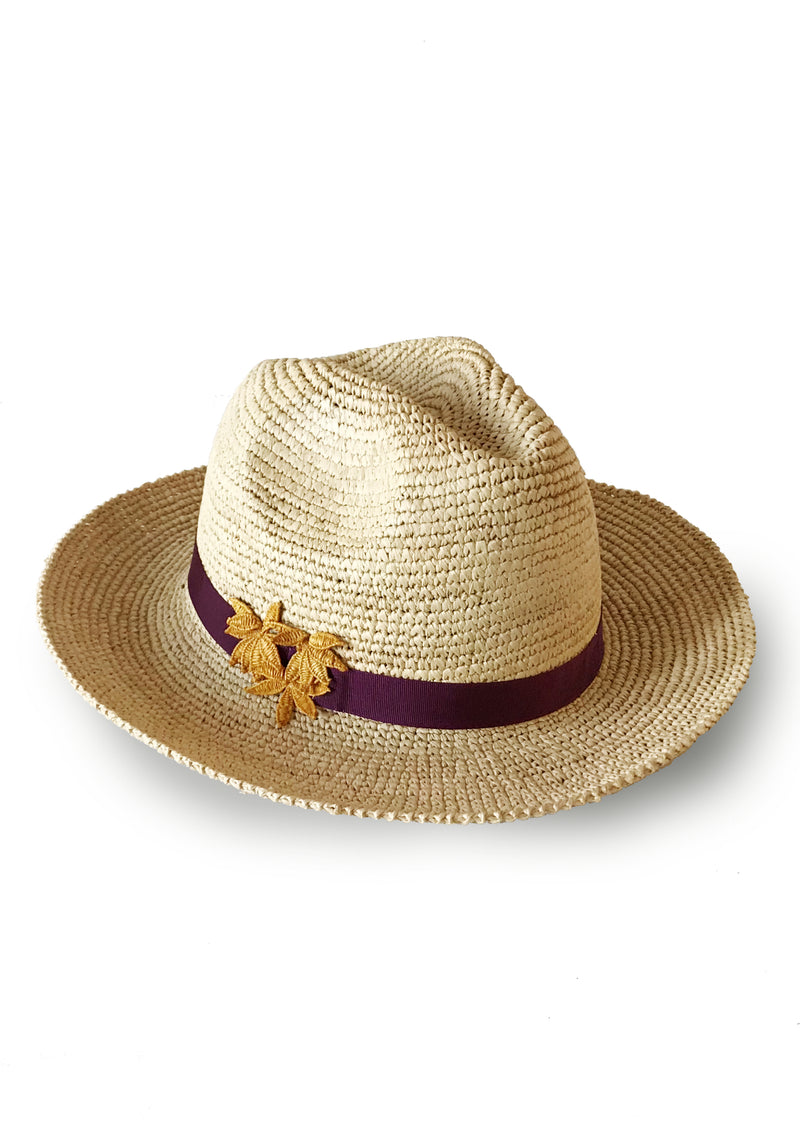 Foldable raffia panama hat for luxury holidays beachwear