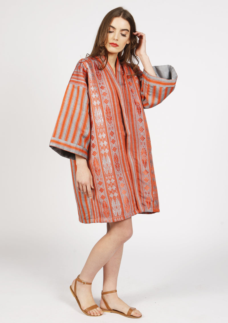 Luxury beachwear raw silk gold red kimono with royal pattern