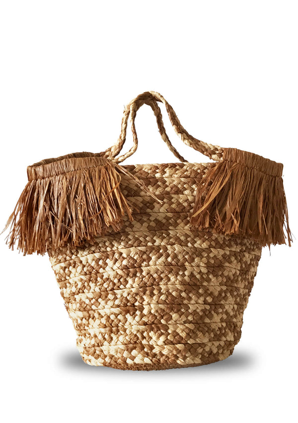 designer raffia beach bag with fringe