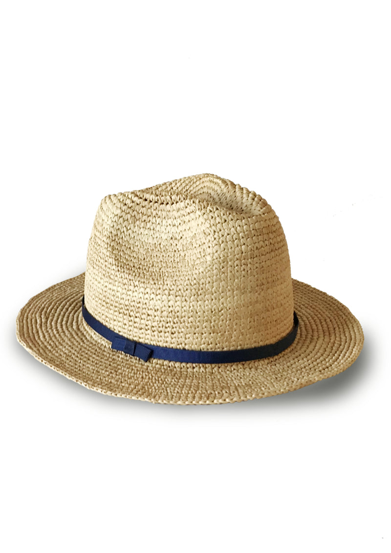 Cheap panama hat for beachwear with blue ribbon