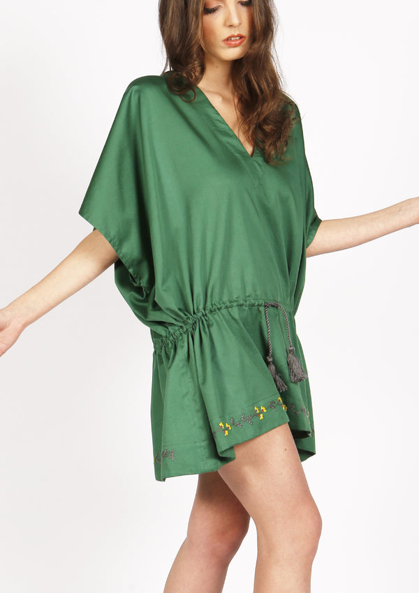 quality green embroidered beach cover-up dress for sale