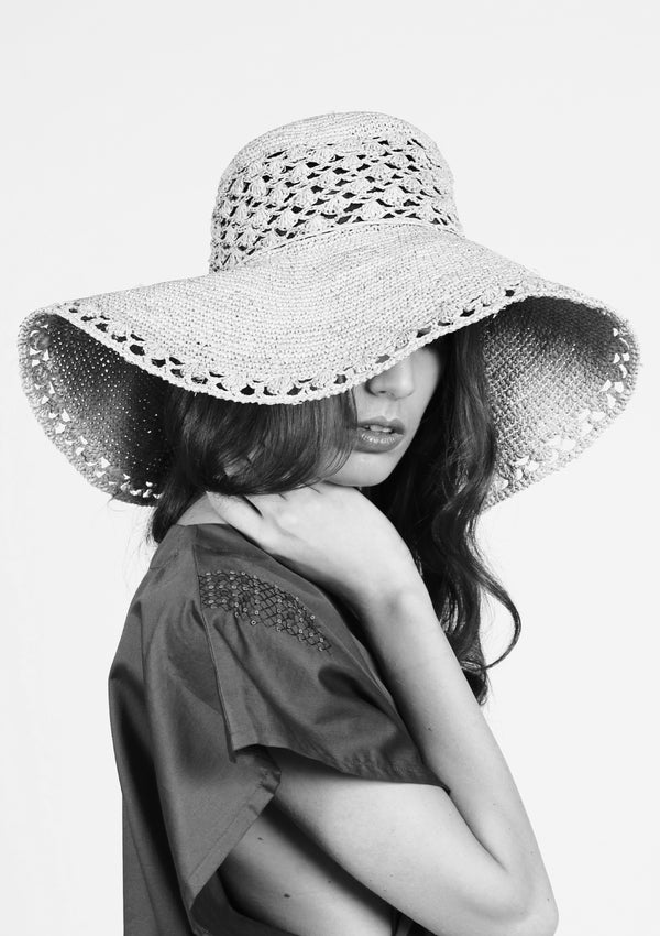 SOFIA large  sun hat-retro style beachwear- Natural