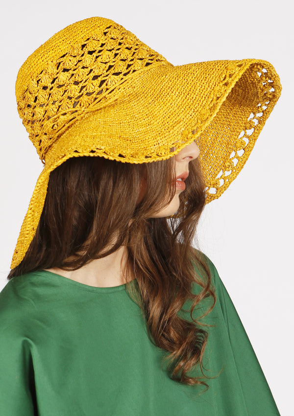Large designer vintage beach hat for luxury travel raffia handmade crochet