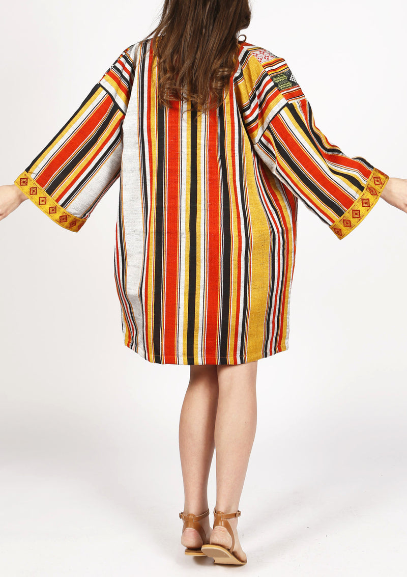 Designer striped women kimono jacket knee length