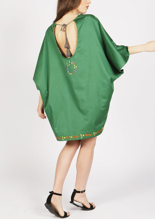 Green cotton beach cover-up dress with flowers embroidery french design
