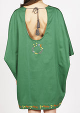 Designer pret a porter green beach dress with open back sustainable fashion