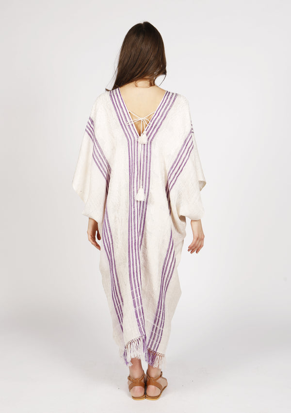 White deep v-neck silk kaftan with tassels open back