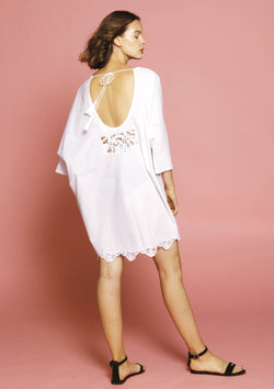 Beach cover-up dress for luxury holidays with tassels pompoms