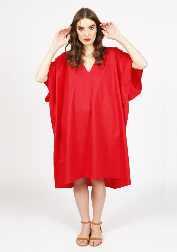 Affordable designer cotton red dress with open back and v-neck