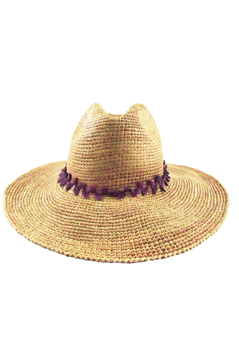Brown quality panama hat for resort
